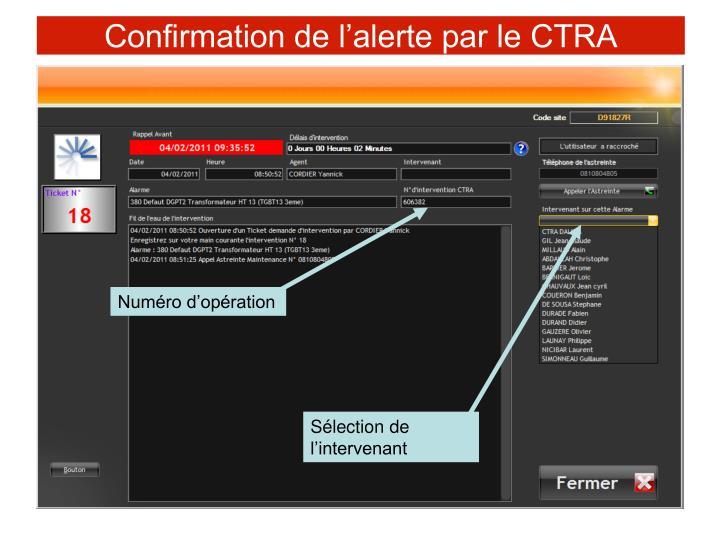 Confirmation de l'alerte par le CTRA