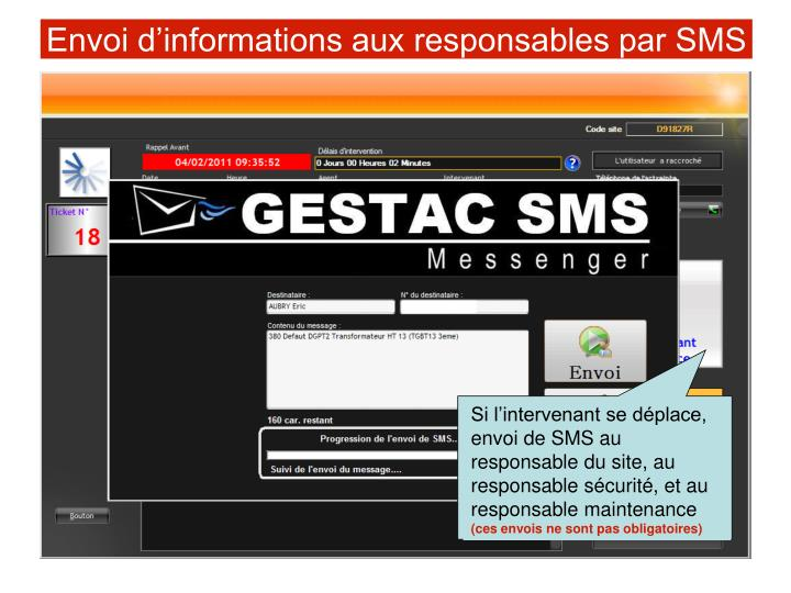 Envoi d'informations aux responsables par SMS