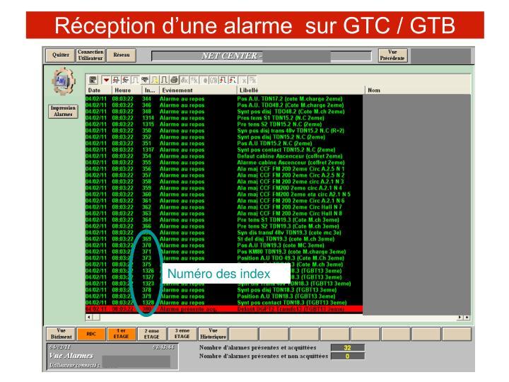 Réception d'une alarme  sur GTC / GTB