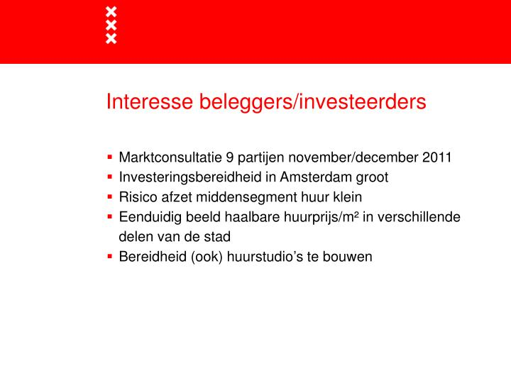 Interesse beleggers/investeerders