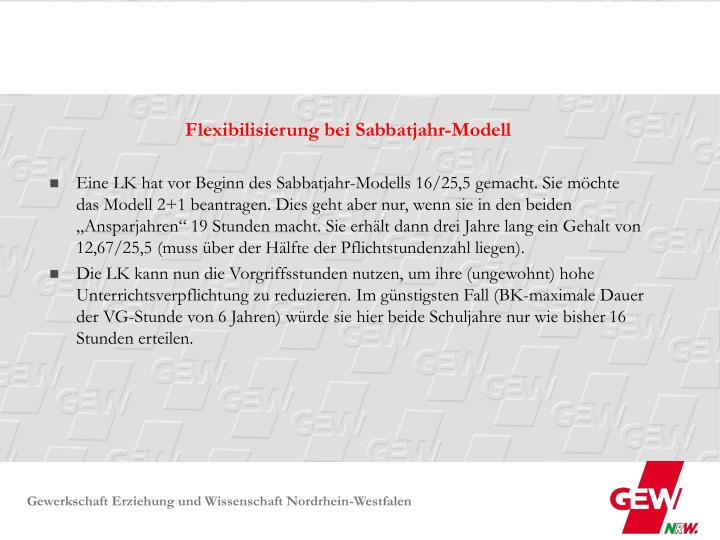 Flexibilisierung bei Sabbatjahr-Modell