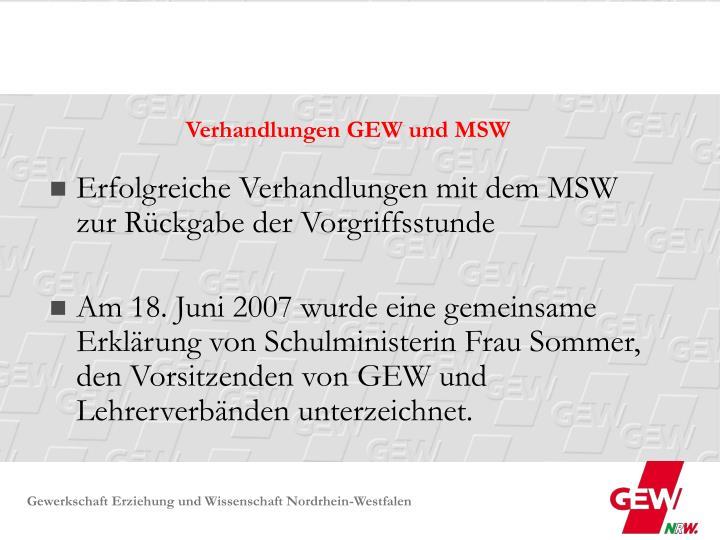 Verhandlungen GEW und MSW