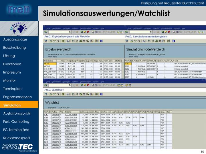 Simulationsauswertungen/Watchlist