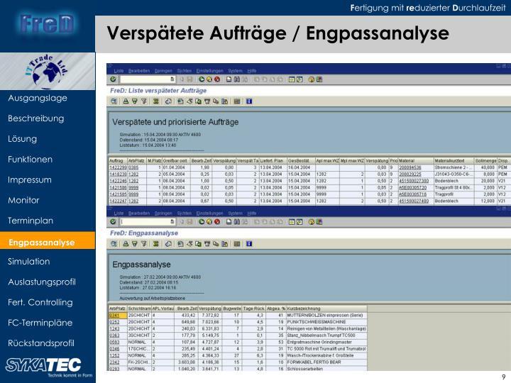 Verspätete Aufträge / Engpassanalyse