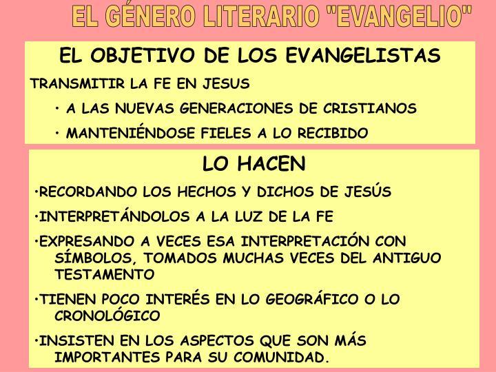 """EL GNERO LITERARIO """"EVANGELIO"""""""