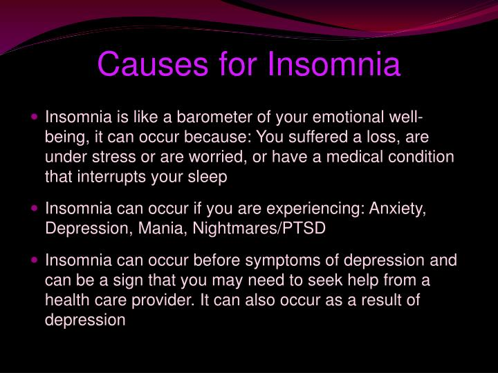 Causes for Insomnia