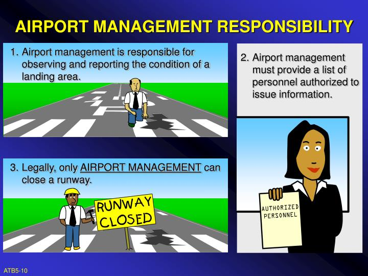 1. Airport management is responsible for observing and reporting the condition of a landing area.