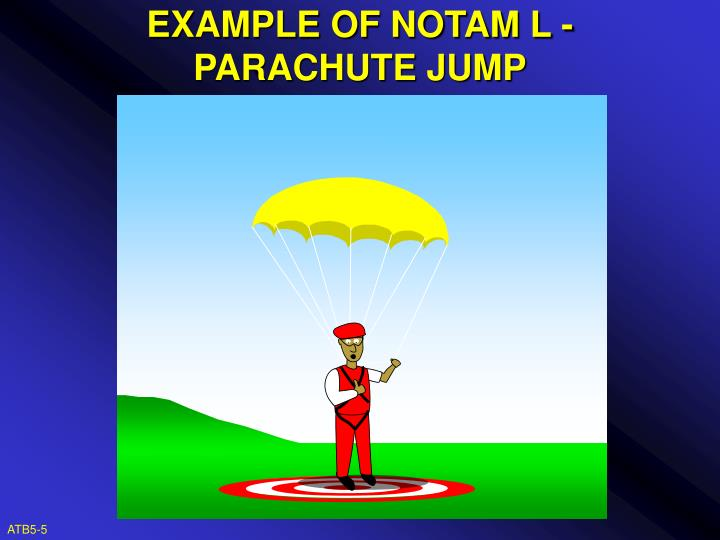 EXAMPLE OF NOTAM L - PARACHUTE JUMP