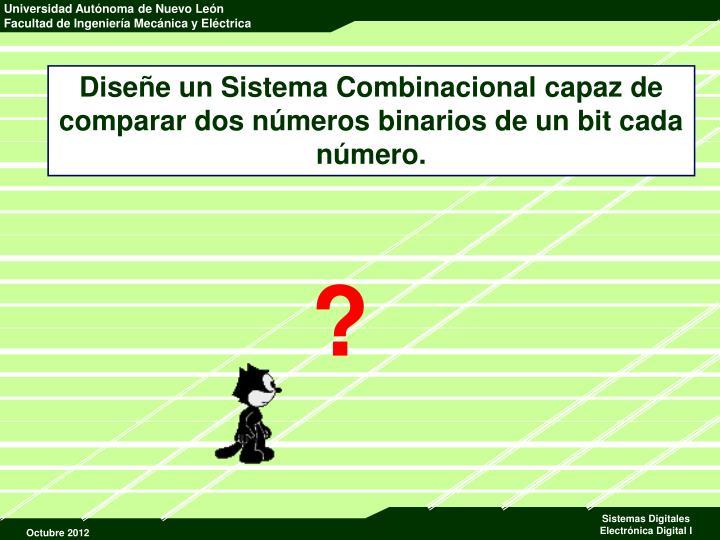 Diseñe un Sistema Combinacional capaz de comparar dos números binarios de un bit cada número.