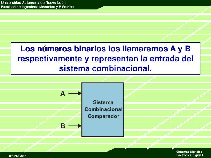 Los números binarios los llamaremos A y B respectivamente y representan la entrada del sistema combinacional.