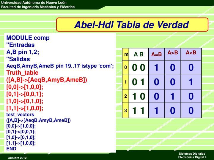 Abel-Hdl Tabla de Verdad