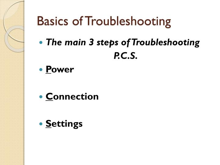 Basics of Troubleshooting