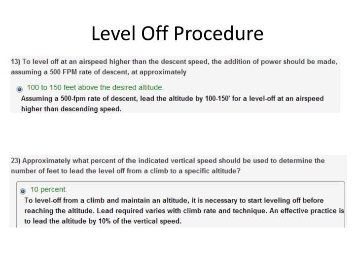 Level Off Procedure