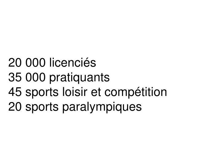 20 000 licenciés
