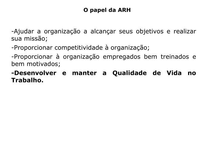 O papel da ARH