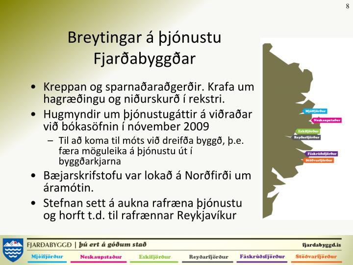 Breytingar á þjónustu Fjarðabyggðar