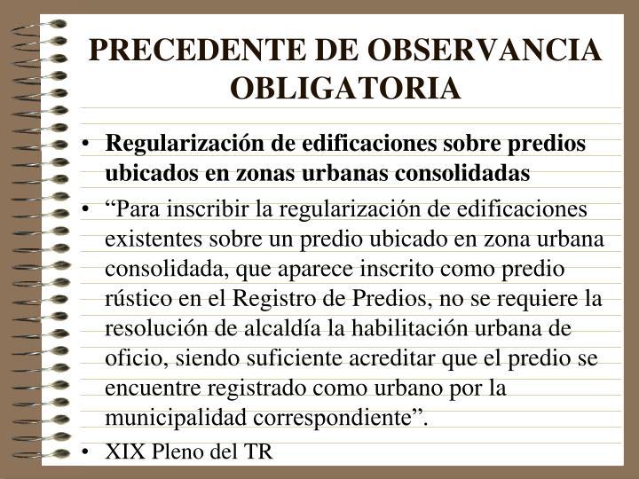 PRECEDENTE DE OBSERVANCIA OBLIGATORIA