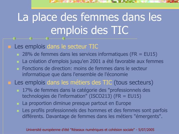 La place des femmes dans les emplois des TIC