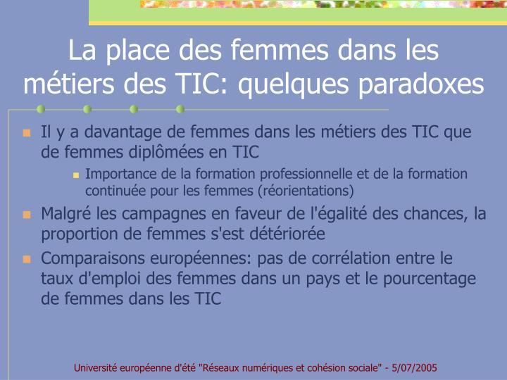 La place des femmes dans les métiers des TIC: quelques paradoxes