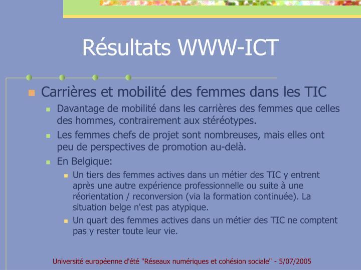 Résultats WWW-ICT