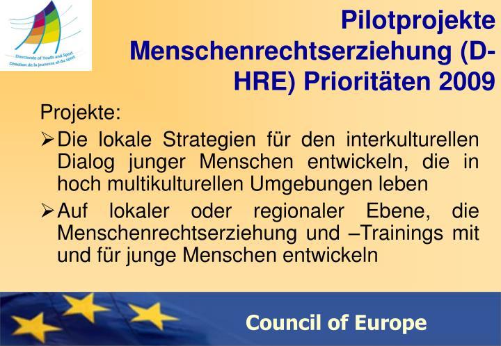 Pilotprojekte Menschenrechtserziehung (D-HRE) Prioritäten 2009