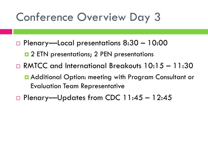 Conference Overview Day 3