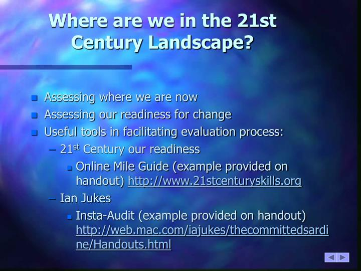 Where are we in the 21st Century Landscape?