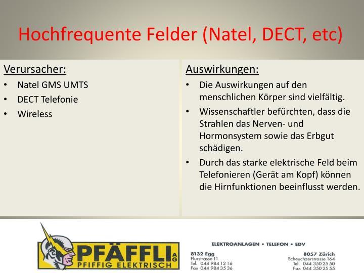 Hochfrequente Felder (Natel, DECT, etc)