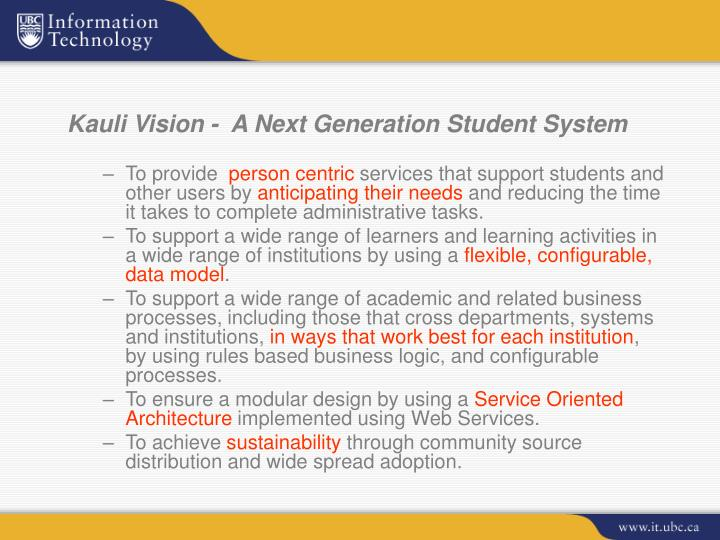 Kauli Vision -  A Next Generation Student System
