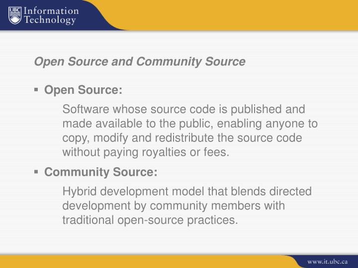 Open source and community source