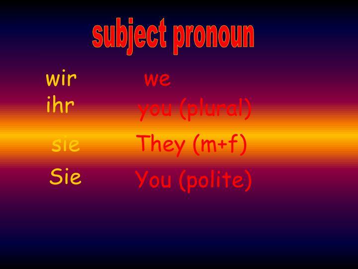 subject pronoun