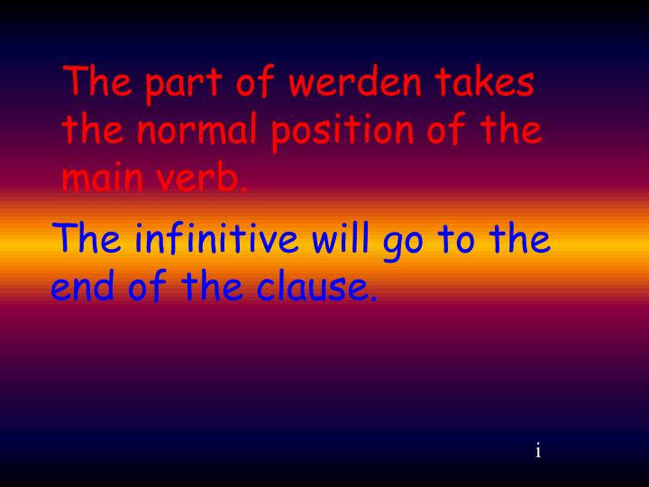 The part of werden takes the normal position of the main verb.
