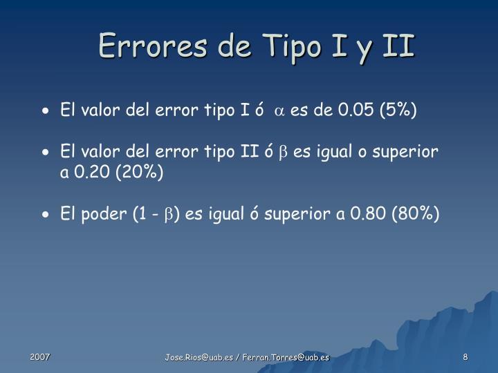 Errores de Tipo I y II