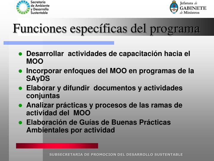 Funciones específicas del programa