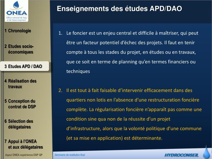 Enseignements des études APD/DAO