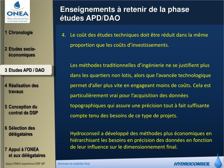 Enseignements à retenir de la phase études APD/DAO