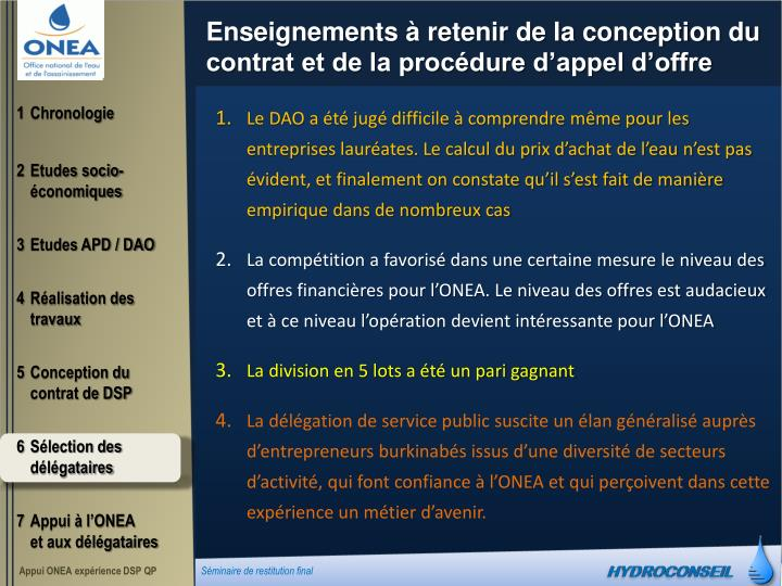 Enseignements à retenir de la conception du