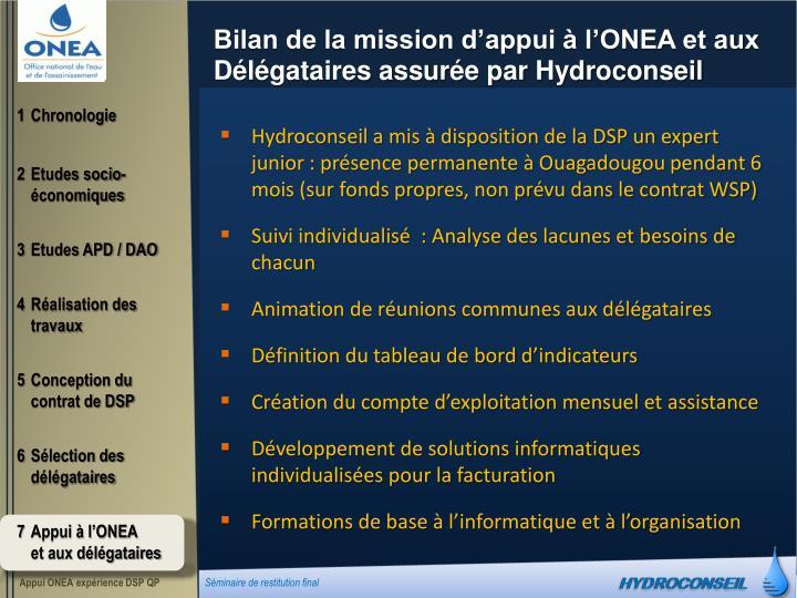 Bilan de la mission d'appui à l'ONEA et aux