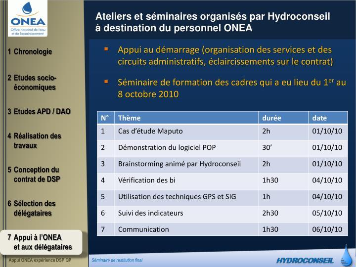 Ateliers et séminaires organisés par Hydroconseil