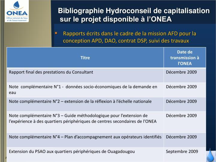 Bibliographie Hydroconseil de capitalisation