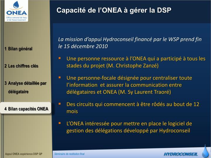Capacité de l'ONEA à gérer la DSP
