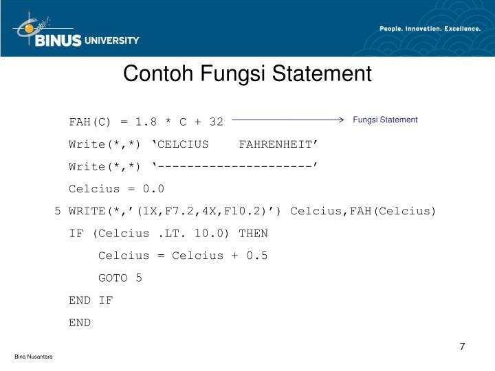 Contoh Fungsi Statement