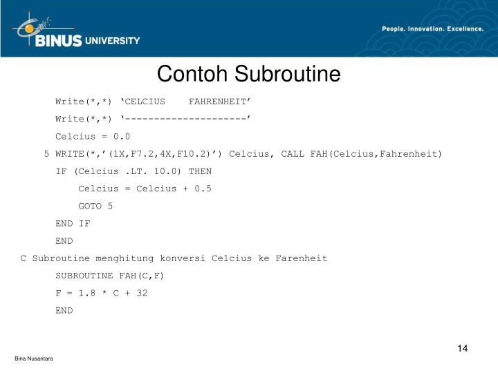 Contoh Subroutine