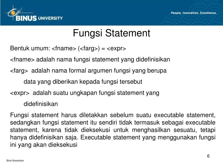Fungsi Statement