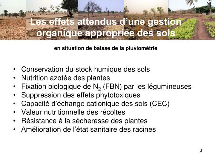 Les effets attendus d'une gestion organique appropriée des sols
