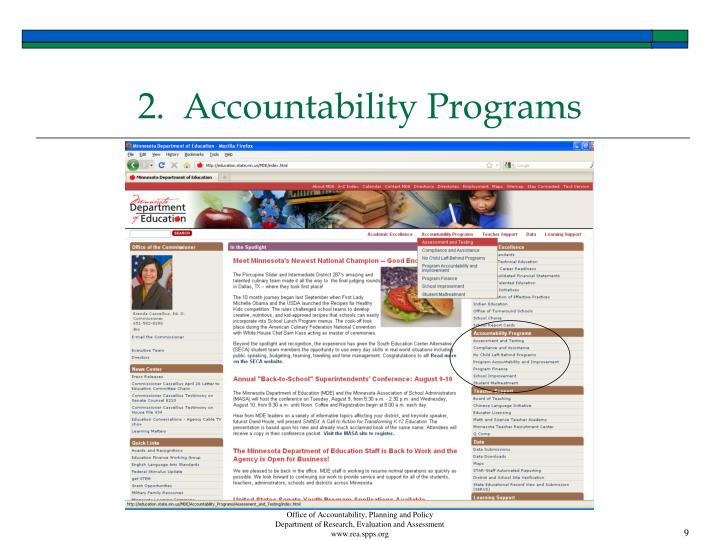 2.  Accountability Programs