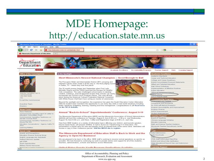 Mde homepage http education state mn us