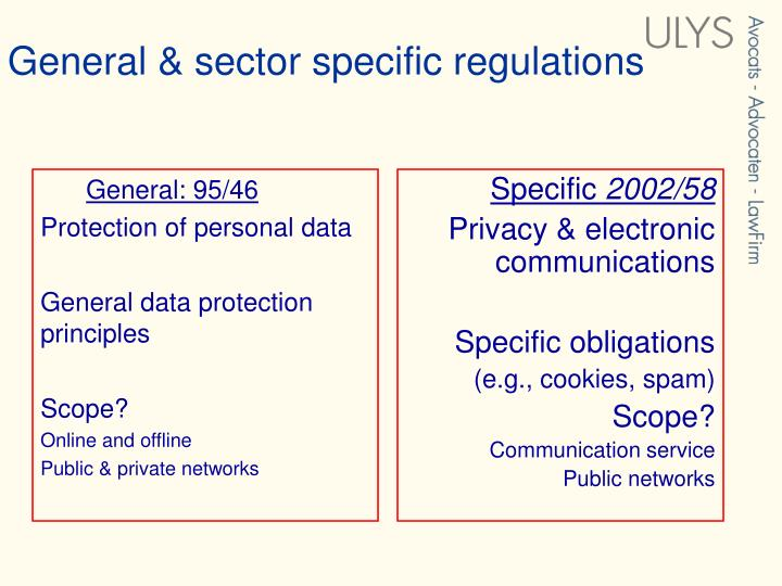 General sector specific regulations