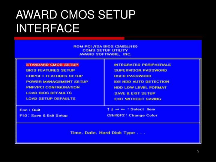 AWARD CMOS SETUP INTERFACE