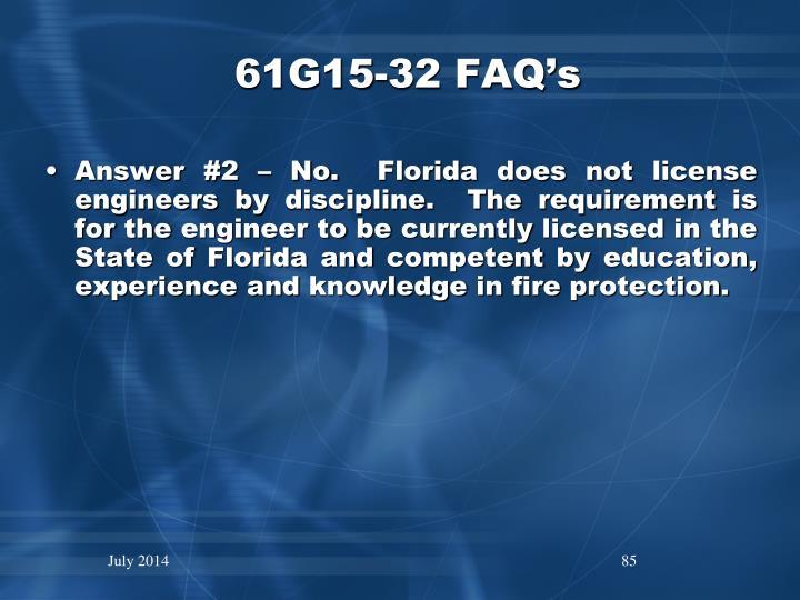 61G15-32 FAQ's